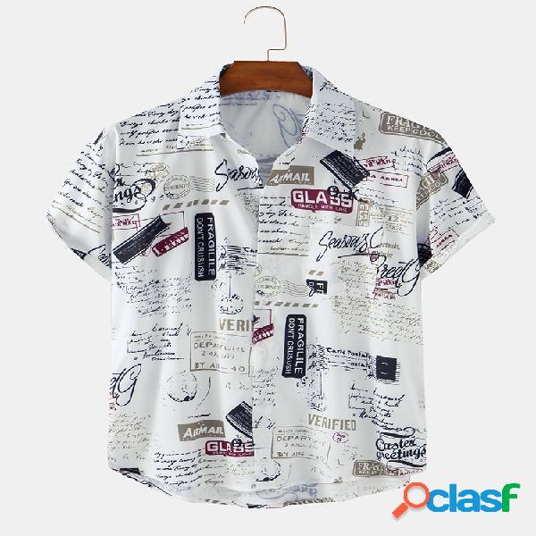 Hombre vendimia pictorial printed playa casual camisa