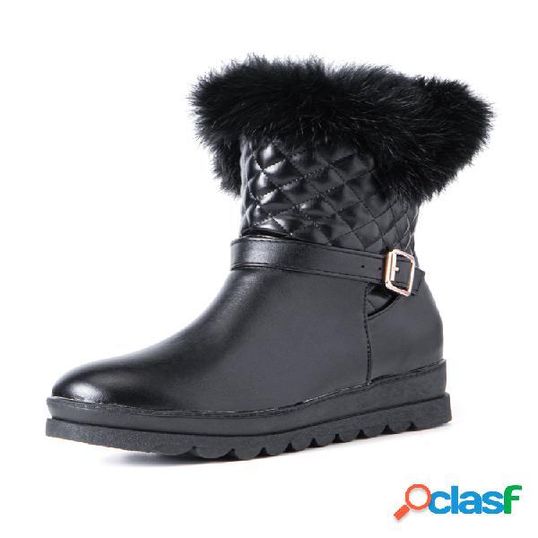 Mujer color sólido hebilla casual felpa cálida nieve corto algodón botas