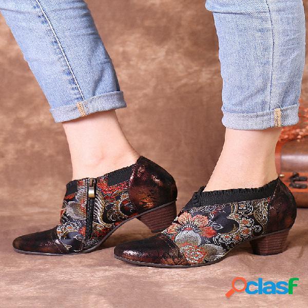Socofy vendimia cuero flores bordado empalme cremallera lateral tacón grueso zapatos