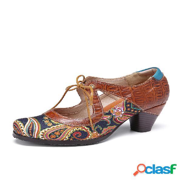 Socofy vendimia zapatos de tacón grueso con cordones y corte de cuero con empalme de cachemira