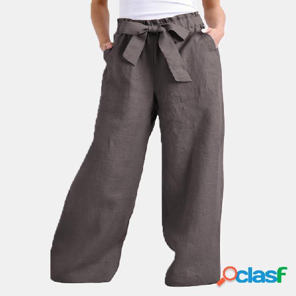 Mujer cintura elástica color sólido casual pantalones