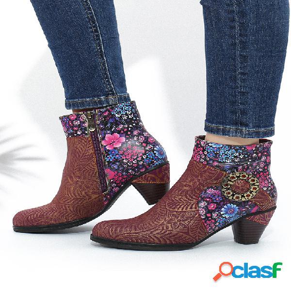 Socofy hebilla de flores de metal retro empalme de cuero floral forro cálido tacón grueso tobillo botas