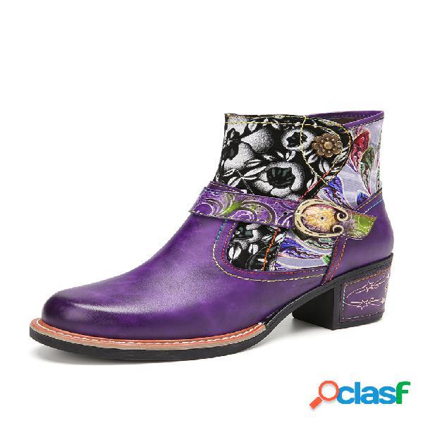 Socofy empalme de tela floral elegante cómodo piel genuina tobillo de tacón grueso usable botas