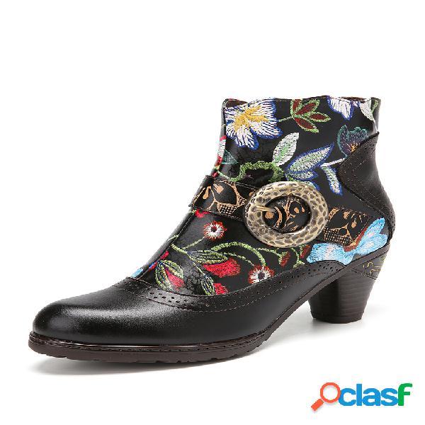 Socofy empalme floral retro en relieve piel genuina cómodo tobillo de tacón grueso con forro cálido botas