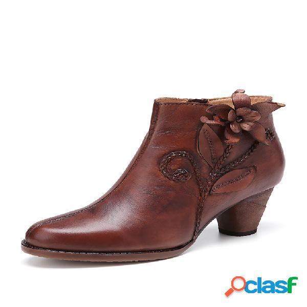 Socofy retro flor piel genuina elegante cómodo y usable tacón grueso tobillo botas