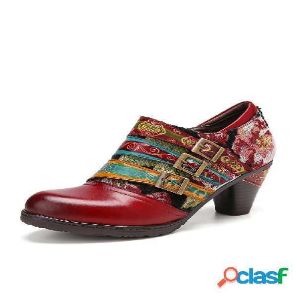 Socofy tres colores correa con hebilla empalme de tela grace flower piel genuina zapatos de tacón grueso