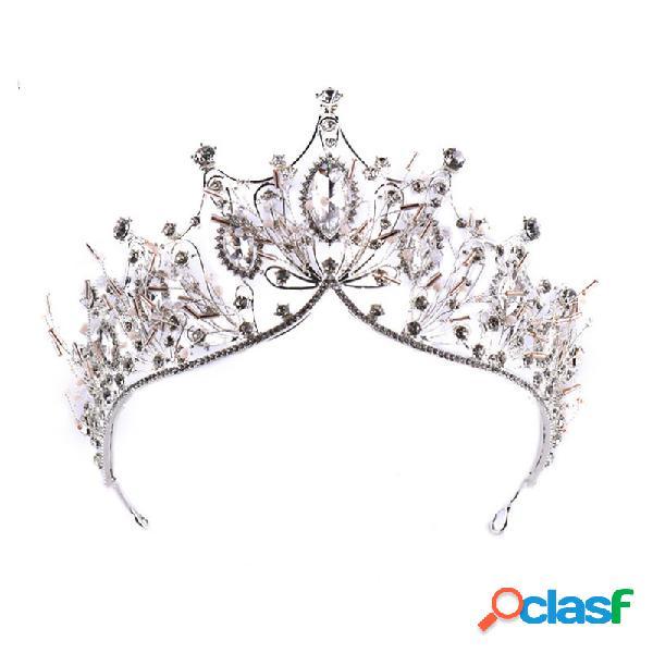 Banda para el cabello elegante cristalino barroco tiara crown boda nupcial accesorios para el cabello para mujer