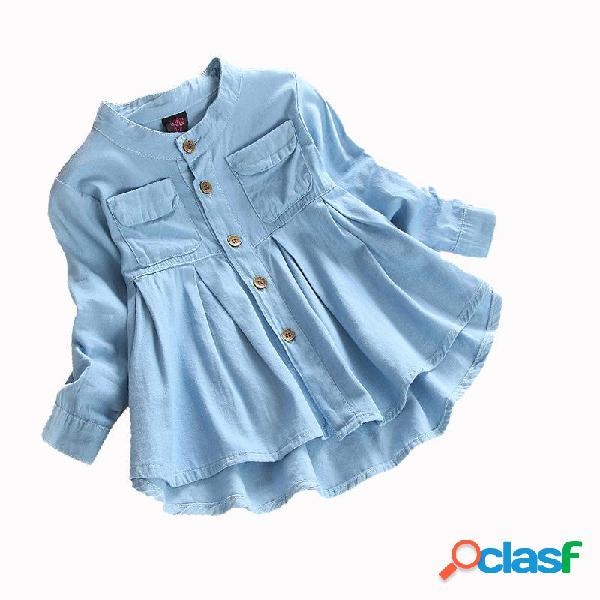 Color sólido de la colmena soft tela camisa