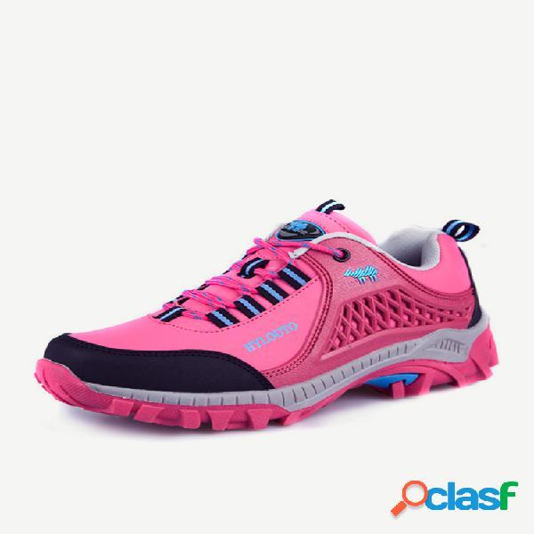 Color match anti skip toe protegiendo lace up zapatos de senderismo al aire libre