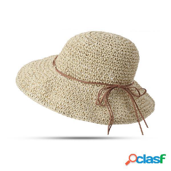 Paja plegable anti-uv para mujer con protector solar sombrero al aire libre viaje informal playa mar sombrero