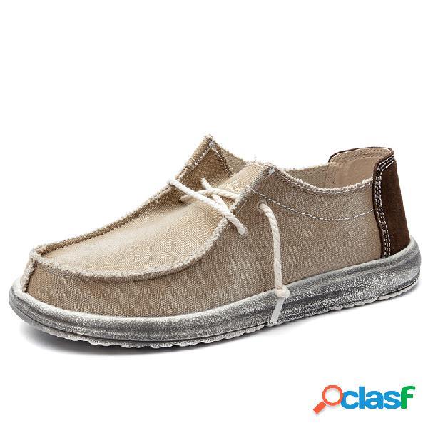 Lona lavada de hombre comfy moc toe low top lace up zapatos informales