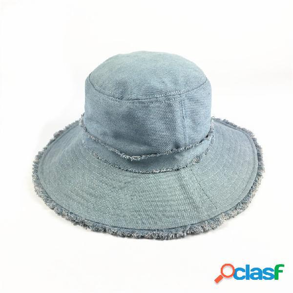 Mujer cubo plegable de protección solar para rebabas de algodón sombrero al aire libre viaje ocasional playa mar sombrero
