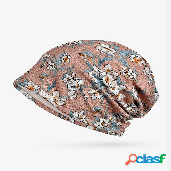 Mujer delgado soft gorro de algodón floral sombrero al aire libre casual resistente al viento útil sombrero