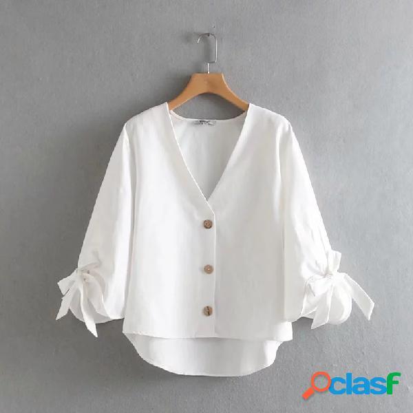 Color sólido arco nudo cuello en v camisa de manga larga casual suelta para mujer