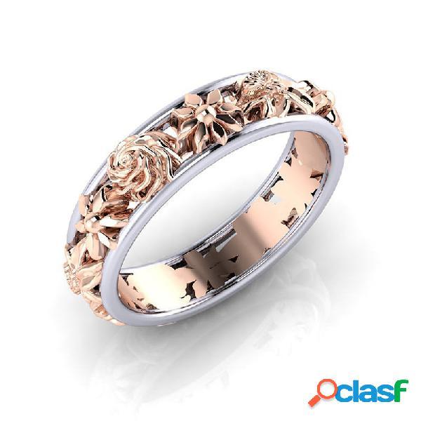 Moda doble color anillos de flores forma redonda oro rosa mujer anillos accesorios