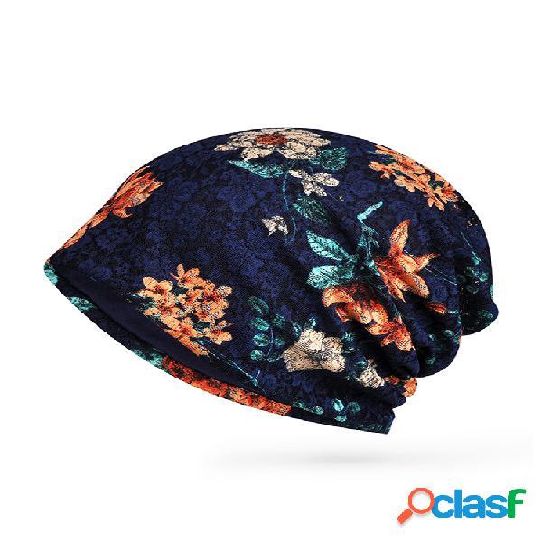 Mujer algodón fino soft gorro con estampado de flores sombrero al aire libre casual a prueba de viento sombrero