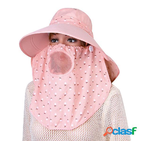 Mujer protección facial desmontable sol transpirable sombrero verano al aire libre viaje playa gorra mar