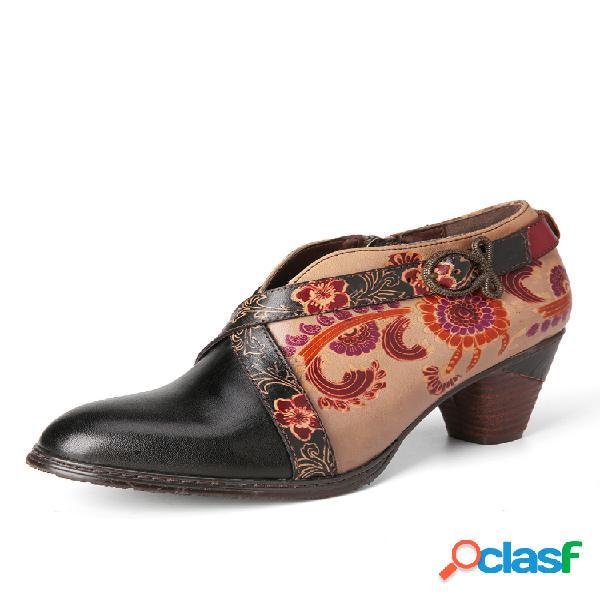 Socofy retro metal hebilla correa decoración flores relieve cremallera lateral zapatos de tacón grueso