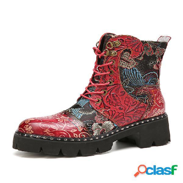 Socofy retro punta redonda en relieve tela de bordado floral empalme de cuero corto para vestir botas