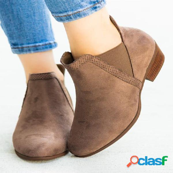 Mujer ante sintético punta puntiaguda elástica slip-on tacón grueso chelsea botas