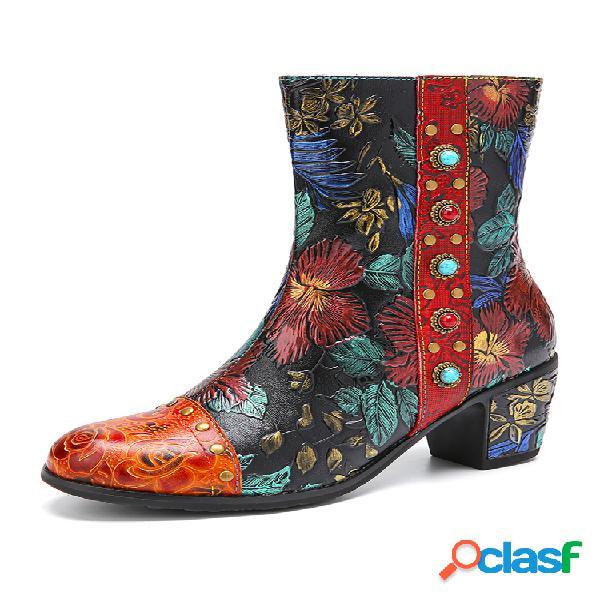 Socofy flores retro en relieve piel genuina cuenta pantalón corto de invierno informal con tacón grueso y forro cálido botas