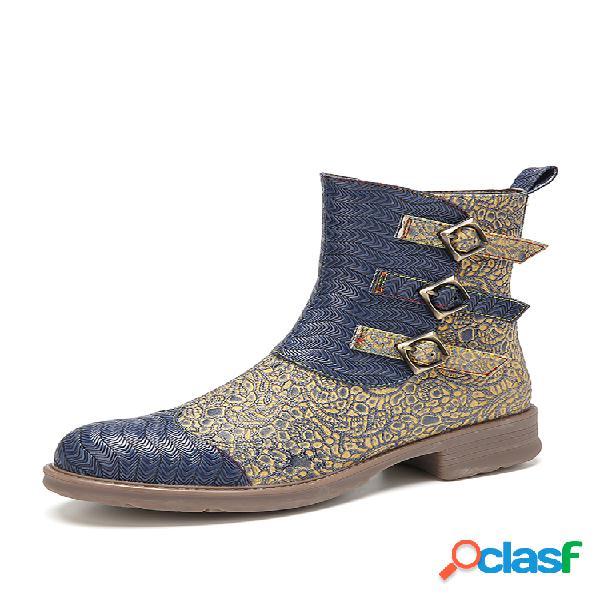 Socofy empalme de tela estampada punta redonda en relieve piel genuina cómodo pantalón corto con cremallera botas