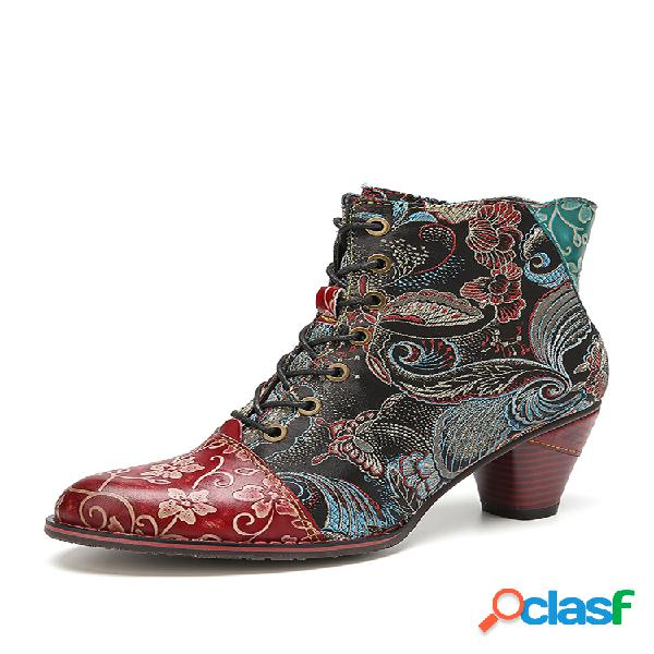 Socofy retro flores empalme de tela piel genuina tobillo de tacón grueso usable botas