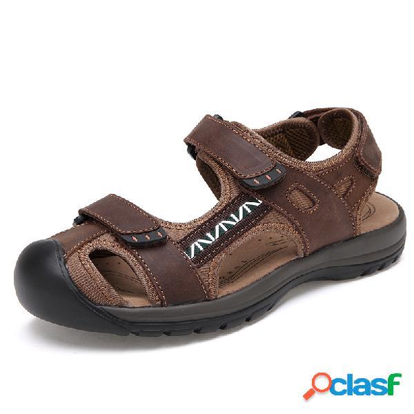 Sandalia de cuero para hombre punta cerrada moda playa zapatos