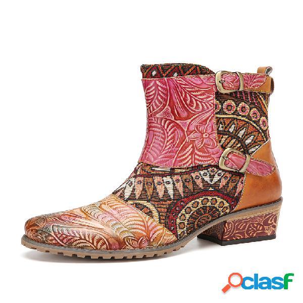 Socofy retro de tela que empalma flor en relieve piel de vaca cuero antideslizante resistente tacón grueso corto botas