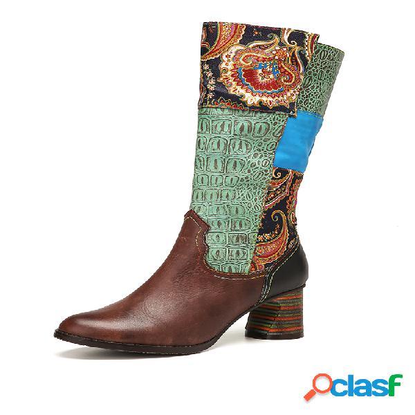 Socofy tela floral retro empalme de cachemir bloques de colores cuero suela usable tacón grueso mitad de la pantorrilla botas