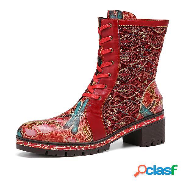 Socofy retro relieve floral bordado tela empalme de cuero tacón grueso botas