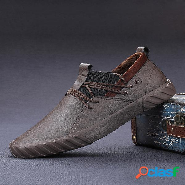 Hombres pure color micorifber leather antideslizante soft sole casual zapatos