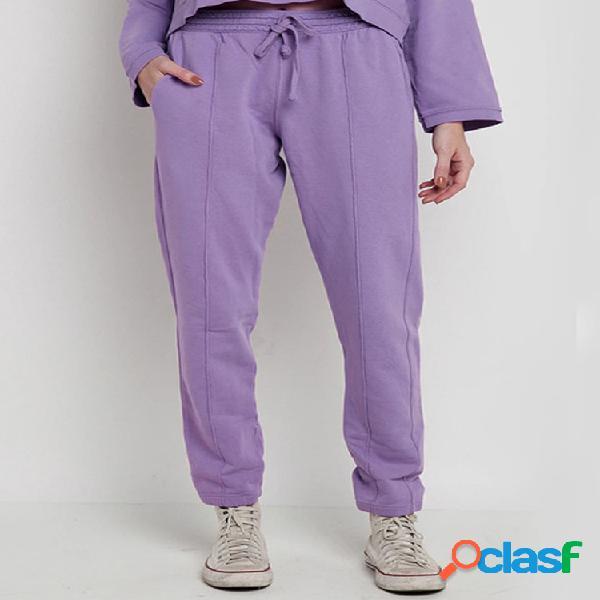 Mujer cordón elástico cintura color sólido casual pantalones
