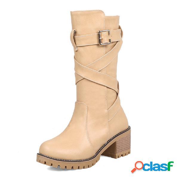 Plus talla mujer hebilla decoración color sólido antideslizante casual cremallera media pantorrilla botas