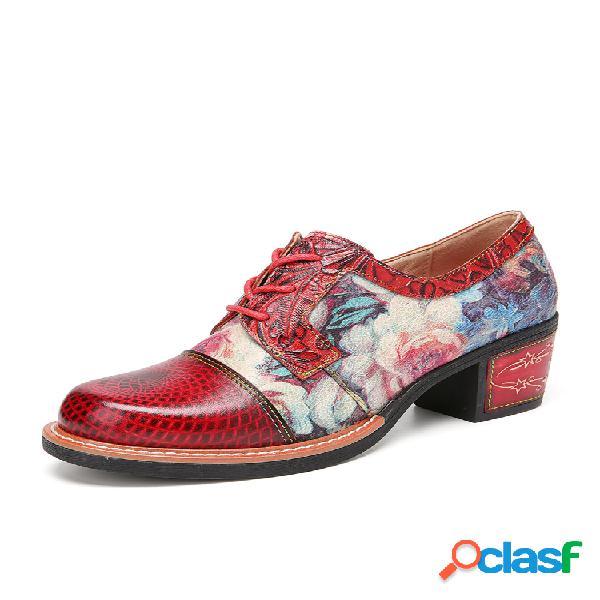 Socofy flores elegantes patrón piel genuina zapatos de tacón retro con cordones y punta redonda