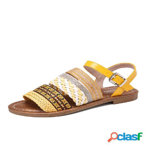Lostisy mujer casual bohemia hebilla de punta abierta raya trenzada plana sandalias