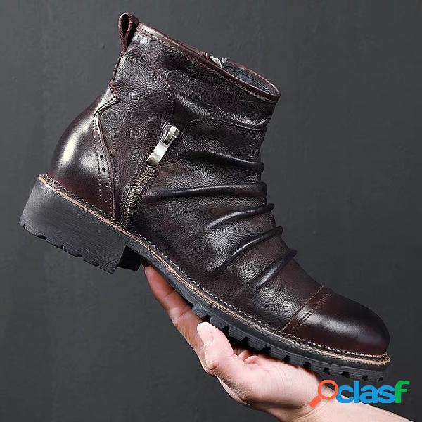 Hombres retro color cuero antideslizante cremallera lateral casual botas