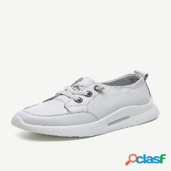 Mujer zapatos casuales de cuero con plataforma blanca clásica