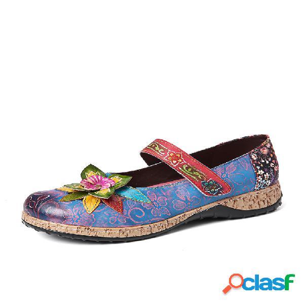 Socofy impresión retro con empalme floral piel genuina gancho zapatos planos con lazo