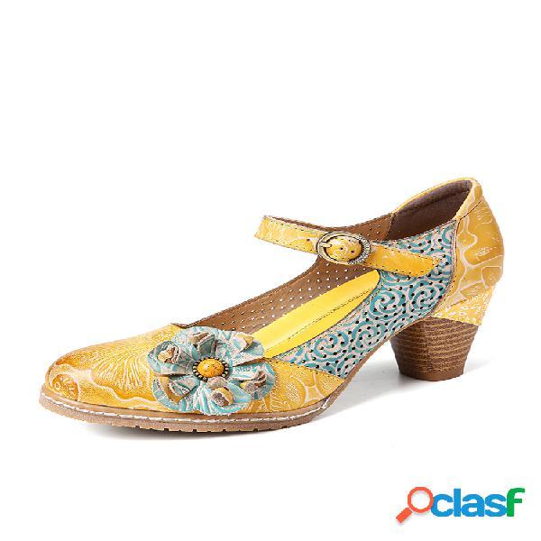 Socofy zapatos de salón de tacón grueso con hebilla de cuero floral con hebilla en el tobillo mary jane vestido zapatos