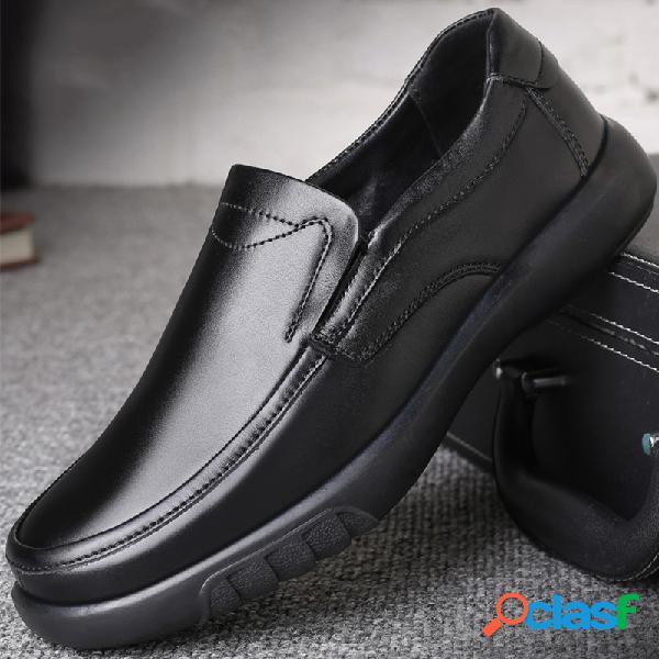 Hombres pure color piel genuina slip antideslizante en zapatos casuales