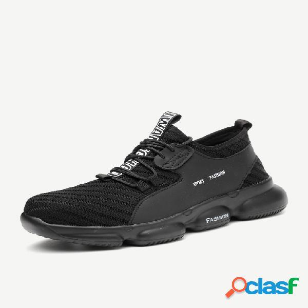 Los hombres de tela de punto transpirable anti smashing lace up work safety shoes