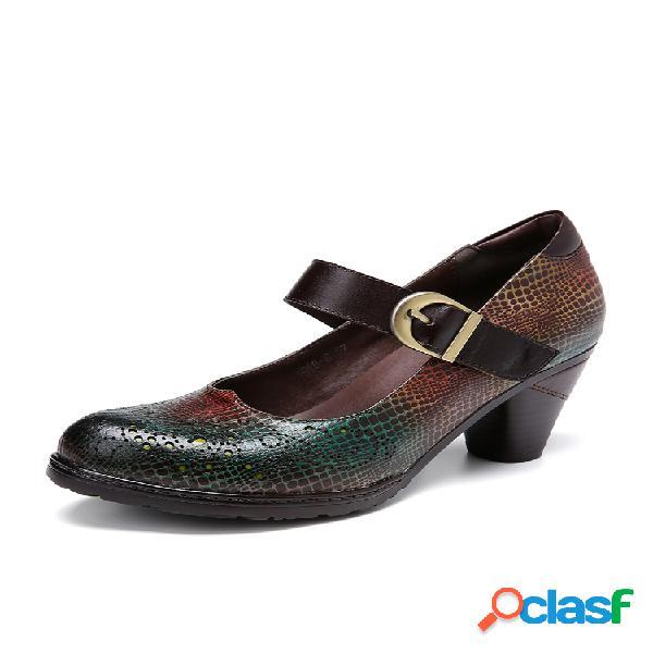 Socofy leather snakeskin patrón recortes hebilla correa tacón grueso zapatos mary jane vestido zapatos