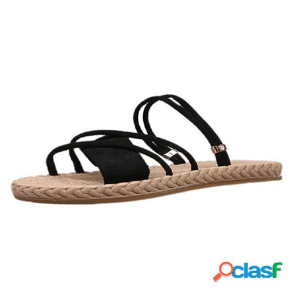 Mujer color sólido soft bottom flats playa zapatillas