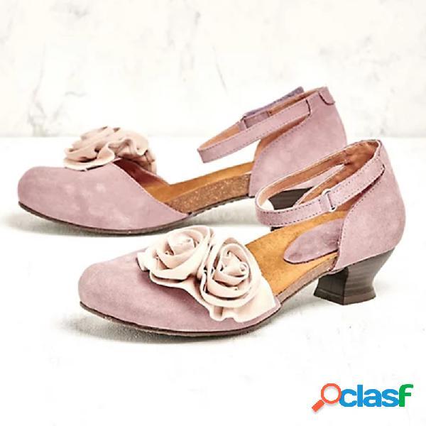 Mujer vendimia flores gamuza correa para el tobillo hebilla zapatos cerrados zuecos bombas