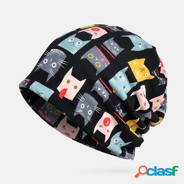 Mujer vendimia gato patrón gorro de algodón étnico sombrero buenas gorras de turbante de verano transpirables elásticas