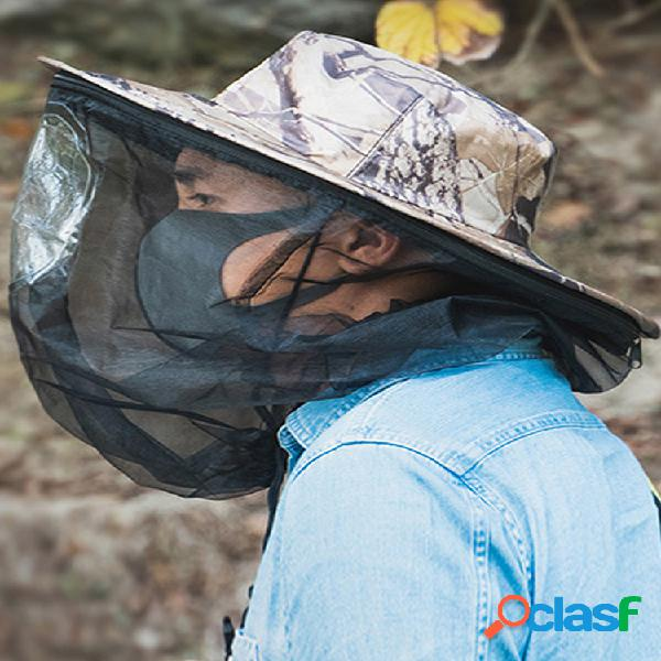 Verano al aire libre viaje anti-insectos sombrero protector solar impermeable plegable transpirable pesca sombrero