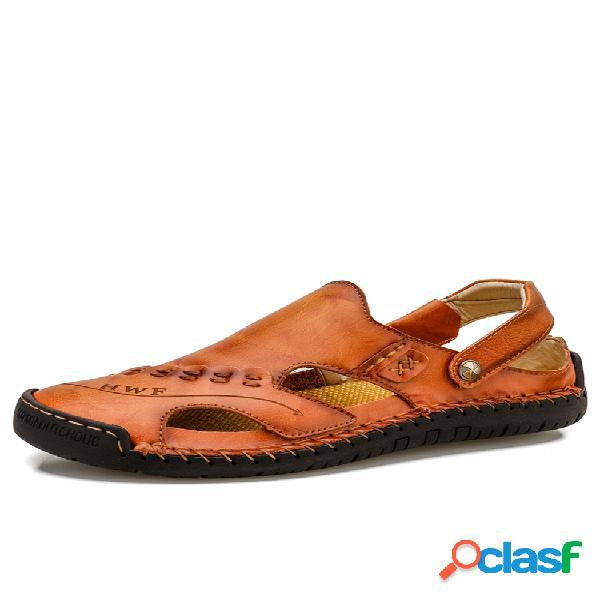 Hombre punta cerrada costuras a mano soft antideslizante al aire libre cuero sandalias