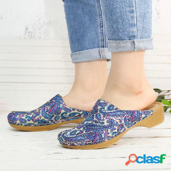 Socofy cloth retro folkways patrón sandalias sin cordones con costura zuecos cómodos de tacón bajo sandalias