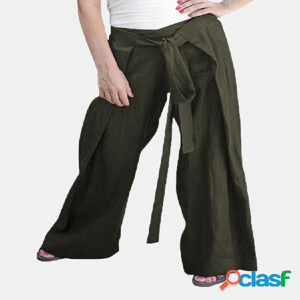 Mujer cintura elástica con cordones color sólido casual pantalones
